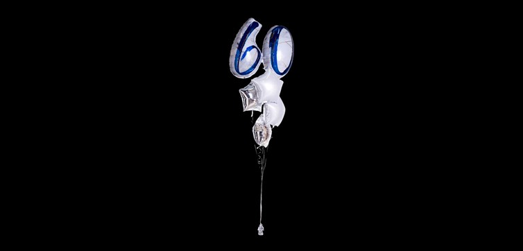 Balloon bouquet Marble Birthday 60 Silver/Blue