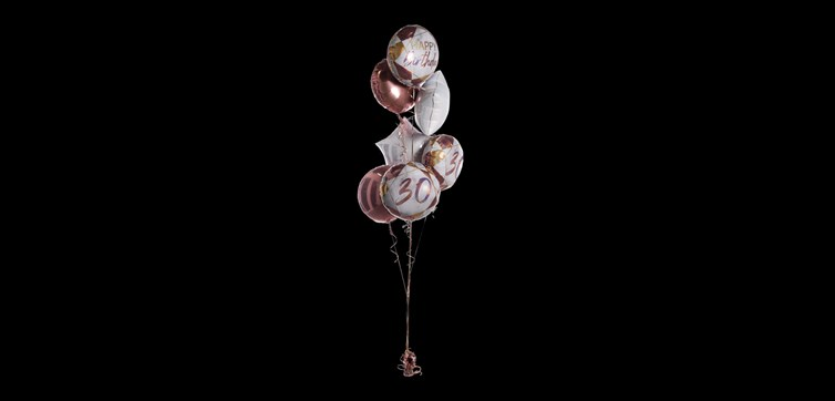 Balloon bouquet Marble Birthday 30 Rose/Gold