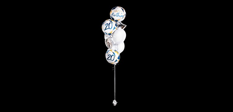 Balloon bouquet Happy Birthday 20 Marble Gold/Blue