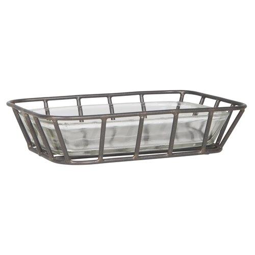 Tvålfat glas med metallhållare