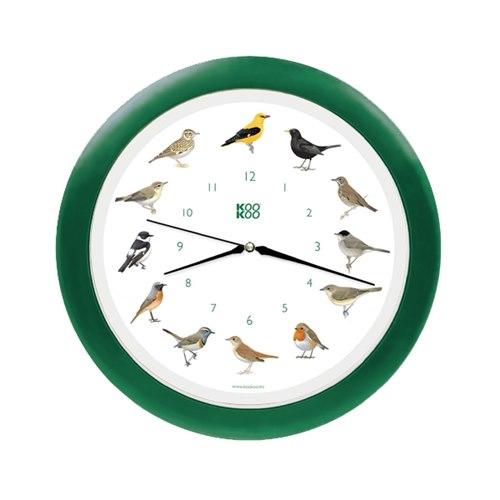 KooKoo väggklocka sångfågel grön plast