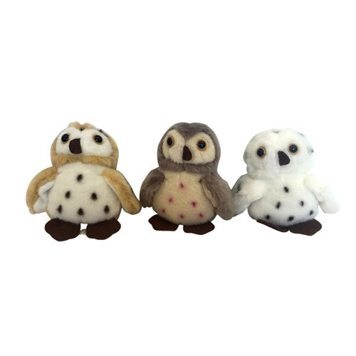 Soft toy Owl 11 cm Mixed colours