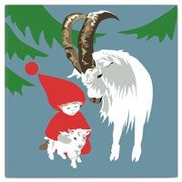 Julkort, Dubbelt Kort Tomte&Julbock