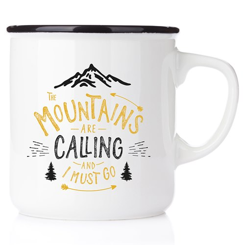 Emaljmugg The mountains are calling and I must go, svart
