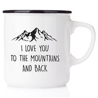 Emaljmugg I love you to the mountains and back