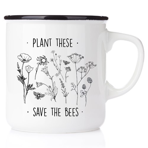 Emaljmugg Plant these - save the bees, svart