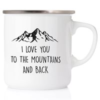 Emaljmugg I love you to the mountains and back, silver
