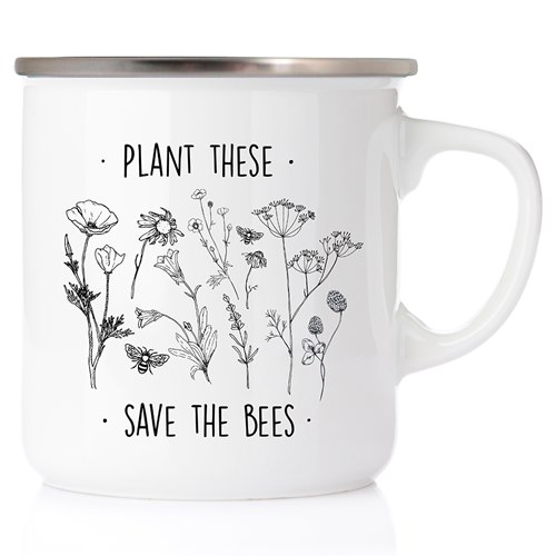 Emaljmugg Plant these - save the bees, silver