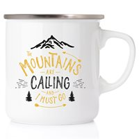 Emaljmugg The mountains are calling and I must go, silver