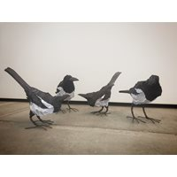 Handcarved wooden Magpie, small